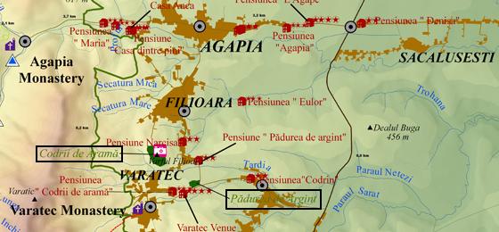 Location of Padurea de Argint and Padurea de Arama Forests