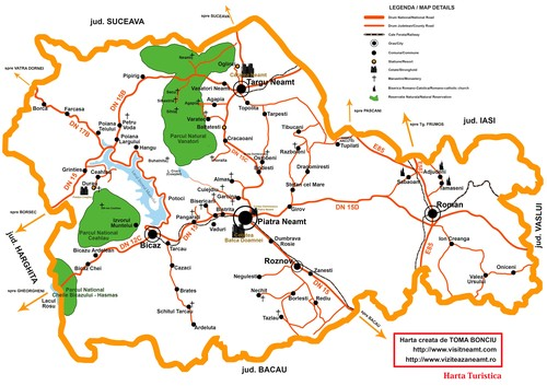 touristic map Neamt County Romania